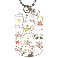 Cute-baby-animals-seamless-pattern Dog Tag (one Side) by Sobalvarro