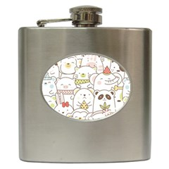 Cute-baby-animals-seamless-pattern Hip Flask (6 Oz) by Sobalvarro