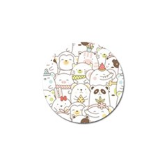 Cute-baby-animals-seamless-pattern Golf Ball Marker (10 Pack) by Sobalvarro