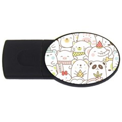 Cute-baby-animals-seamless-pattern Usb Flash Drive Oval (2 Gb) by Sobalvarro