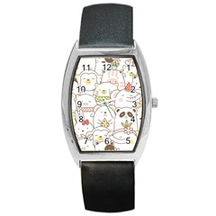 Cute-baby-animals-seamless-pattern Barrel Style Metal Watch by Sobalvarro