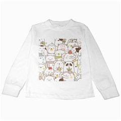 Cute-baby-animals-seamless-pattern Kids Long Sleeve T-shirts by Sobalvarro
