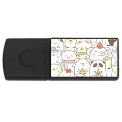 Cute-baby-animals-seamless-pattern Rectangular Usb Flash Drive by Sobalvarro