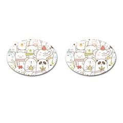 Cute-baby-animals-seamless-pattern Cufflinks (oval) by Sobalvarro