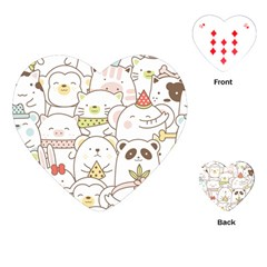 Cute-baby-animals-seamless-pattern Playing Cards Single Design (heart) by Sobalvarro