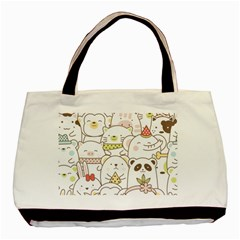 Cute-baby-animals-seamless-pattern Basic Tote Bag by Sobalvarro