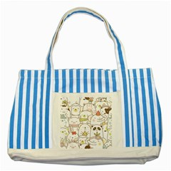 Cute-baby-animals-seamless-pattern Striped Blue Tote Bag by Sobalvarro