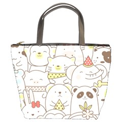 Cute-baby-animals-seamless-pattern Bucket Bag by Sobalvarro