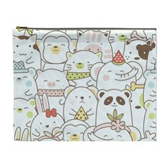 Cute-baby-animals-seamless-pattern Cosmetic Bag (xl) by Sobalvarro