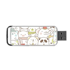 Cute-baby-animals-seamless-pattern Portable Usb Flash (one Side) by Sobalvarro