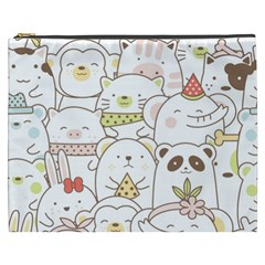 Cute-baby-animals-seamless-pattern Cosmetic Bag (xxxl) by Sobalvarro