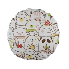 Cute-baby-animals-seamless-pattern Standard 15  Premium Round Cushions by Sobalvarro