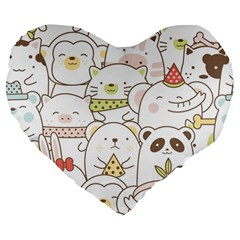 Cute-baby-animals-seamless-pattern Large 19  Premium Heart Shape Cushions by Sobalvarro