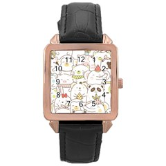 Cute-baby-animals-seamless-pattern Rose Gold Leather Watch  by Sobalvarro