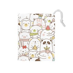 Cute-baby-animals-seamless-pattern Drawstring Pouch (medium) by Sobalvarro