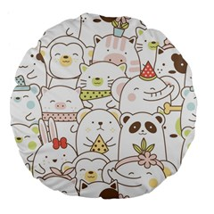 Cute-baby-animals-seamless-pattern Large 18  Premium Flano Round Cushions by Sobalvarro