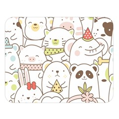 Cute-baby-animals-seamless-pattern Double Sided Flano Blanket (large)  by Sobalvarro