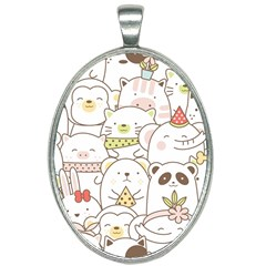 Cute-baby-animals-seamless-pattern Oval Necklace by Sobalvarro
