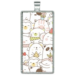Cute-baby-animals-seamless-pattern Rectangle Necklace by Sobalvarro