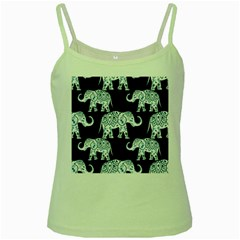 Elephant-pattern-background Green Spaghetti Tank by Sobalvarro