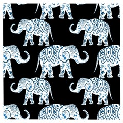 Elephant-pattern-background Wooden Puzzle Square by Sobalvarro