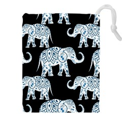 Elephant-pattern-background Drawstring Pouch (3xl)