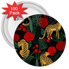 Seamless-pattern-with-leopards-and-roses-vector 3  Buttons (100 Pack)  by Sobalvarro