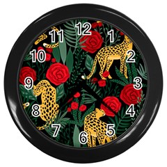 Seamless-pattern-with-leopards-and-roses-vector Wall Clock (black) by Sobalvarro