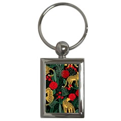 Seamless-pattern-with-leopards-and-roses-vector Key Chain (rectangle) by Sobalvarro