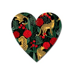 Seamless-pattern-with-leopards-and-roses-vector Heart Magnet by Sobalvarro
