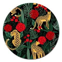 Seamless-pattern-with-leopards-and-roses-vector Magnet 5  (round) by Sobalvarro