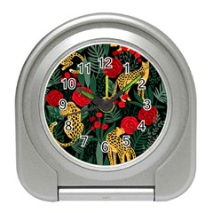Seamless-pattern-with-leopards-and-roses-vector Travel Alarm Clock by Sobalvarro