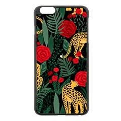 Seamless-pattern-with-leopards-and-roses-vector Iphone 6 Plus/6s Plus Black Enamel Case by Sobalvarro