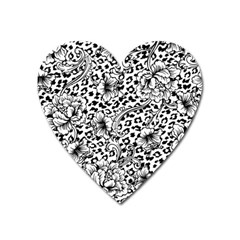 Vector-eclectic-fabric-seamless-pattern-animal-background-with-baroque-ornament Heart Magnet by Sobalvarro