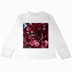 Red Floral Kids Long Sleeve T-shirts by Sparkle