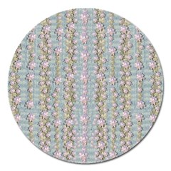 Summer Florals In The Sea Pond Decorative Magnet 5  (round)