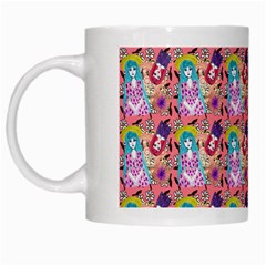 Blue Haired Girl Pattern Pink White Mugs by snowwhitegirl