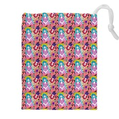 Blue Haired Girl Pattern Pink Drawstring Pouch (5xl) by snowwhitegirl