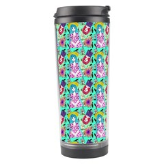 Blue Haired Girl Pattern Green Travel Tumbler by snowwhitegirl