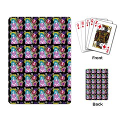 Blue Haired Girl Pattern Black Playing Cards Single Design (rectangle) by snowwhitegirl