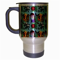 Purple Glasses Girl Pattern Blue Travel Mug (silver Gray) by snowwhitegirl