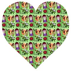 Purple Glasses Girl Pattern Green Wooden Puzzle Heart