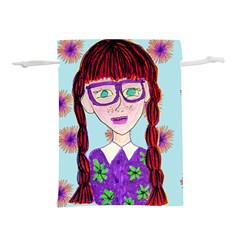 Purple Glasses Girl Wall Lightweight Drawstring Pouch (l)
