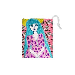 Blue Haired Girl Wall Drawstring Pouch (xs) by snowwhitegirl