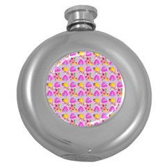 Girl With Hood Cape Heart Lemon Pattern Lilac Round Hip Flask (5 Oz) by snowwhitegirl