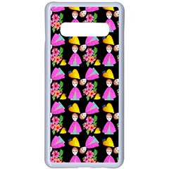 Girl With Hood Cape Heart Lemon Pattern Black Samsung Galaxy S10 Plus Seamless Case(white)