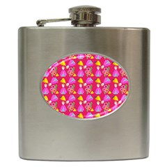 Girl With Hood Cape Heart Lemon Pattern Pink Hip Flask (6 Oz) by snowwhitegirl