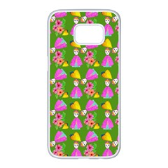 Girl With Hood Cape Heart Lemon Pattern Green Samsung Galaxy S7 Edge White Seamless Case by snowwhitegirl