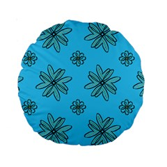 Blue Repeat Pattern Standard 15  Premium Round Cushions by emmamatrixworm