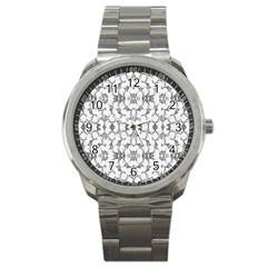 Grey And White Abstract Geometric Print Sport Metal Watch by dflcprintsclothing